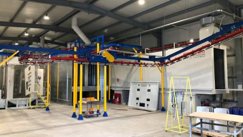Automated powder painting installation / Euroimpianti / Gema